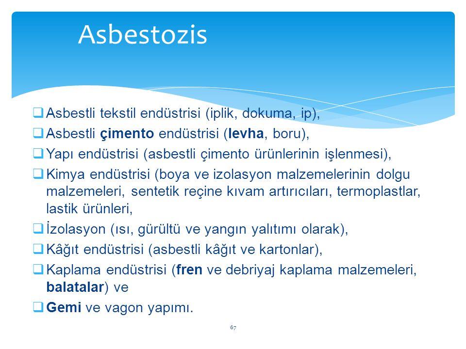  Asbestli tekstil endüstrisi (iplik, dokuma, ip),  Asbestli çimento endüstrisi (levha, boru),  Yapı endüstrisi (asbestli çimento ürünlerinin işlenm