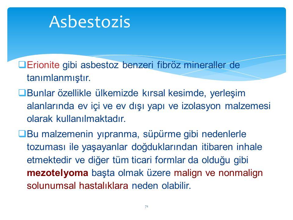  Erionite gibi asbestoz benzeri fibröz mineraller de tanımlanmıştır.  Bunlar özellikle ülkemizde kırsal kesimde, yerleşim alanlarında ev içi ve ev d