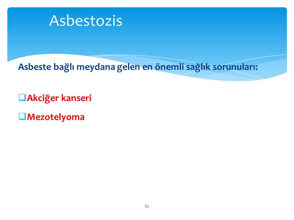 Asbeste bağlı meydana gelen en önemli sağlık sorunuları:  Akciğer kanseri  Mezotelyoma 80 Asbestozis