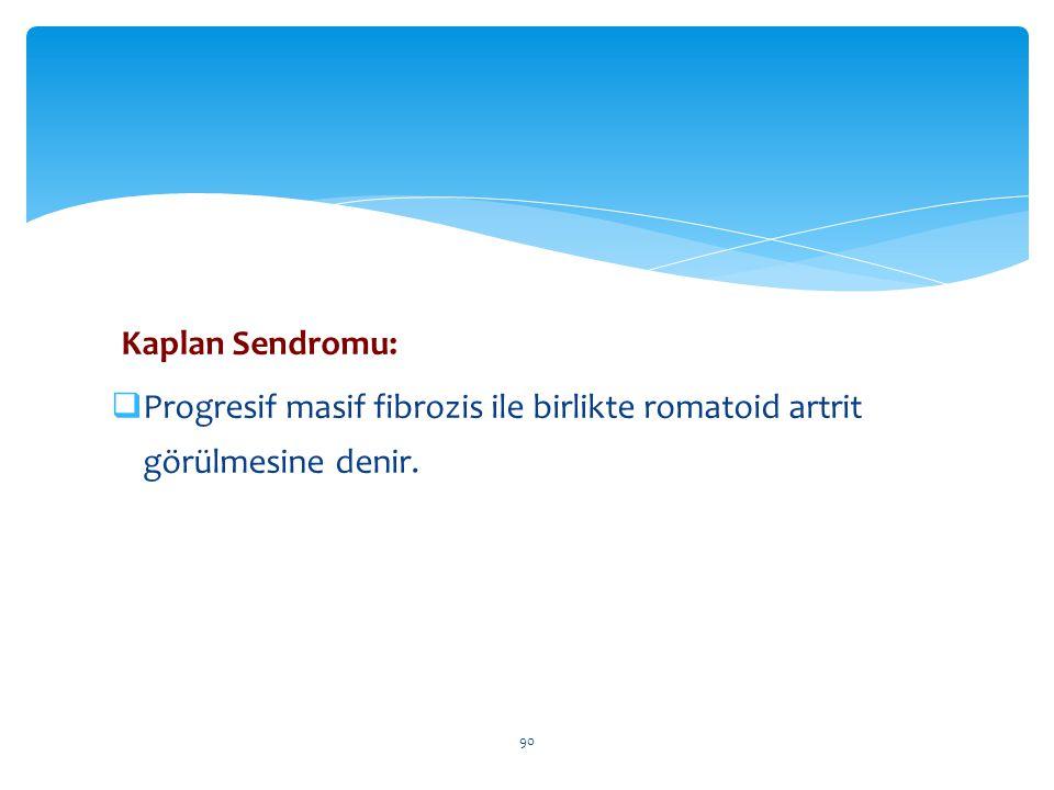 Kaplan Sendromu:  Progresif masif fibrozis ile birlikte romatoid artrit görülmesine denir. 90