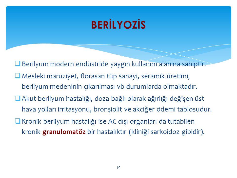 Berilyum modern endüstride yaygın kullanım alanına sahiptir.  Mesleki maruziyet, florasan tüp sanayi, seramik üretimi, berilyum medeninin çıkarılma