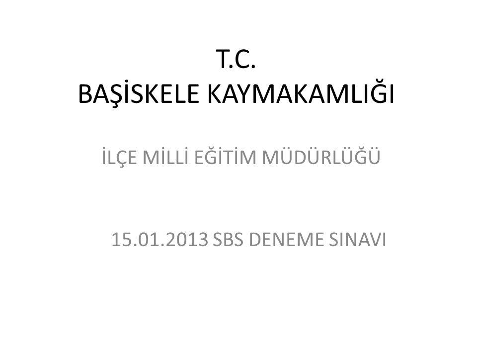 T.C. BAŞİSKELE KAYMAKAMLIĞI İLÇE MİLLİ EĞİTİM MÜDÜRLÜĞÜ 15.01.2013 SBS DENEME SINAVI