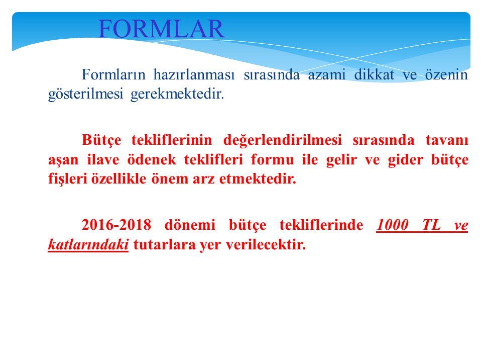 FORMLAR Formların hazırlanması sırasında azami dikkat ve özenin gösterilmesi gerekmektedir. Bütçe tekliflerinin değerlendirilmesi sırasında tavanı aşa