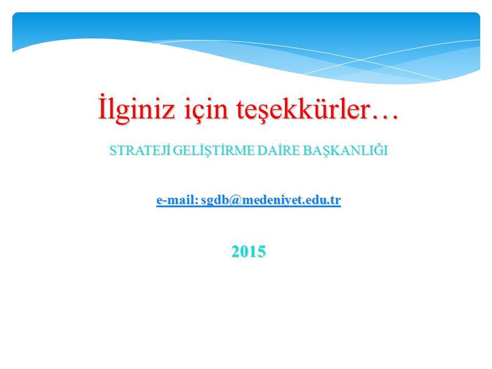 İlginiz için teşekkürler… STRATEJİ GELİŞTİRME DAİRE BAŞKANLIĞI e-mail: sgdb@medeniyet.edu.tr e-mail: sgdb@medeniyet.edu.tr2015