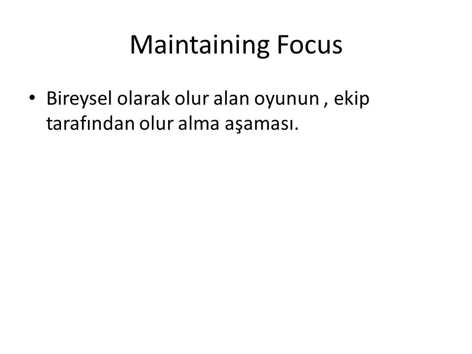 Maintaining Focus Bireysel olarak olur alan oyunun, ekip tarafından olur alma aşaması.