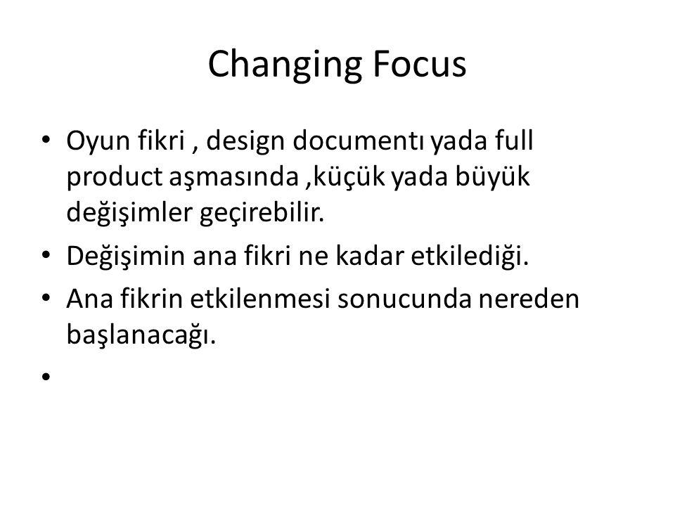 Changing Focus Oyun fikri, design documentı yada full product aşmasında,küçük yada büyük değişimler geçirebilir.