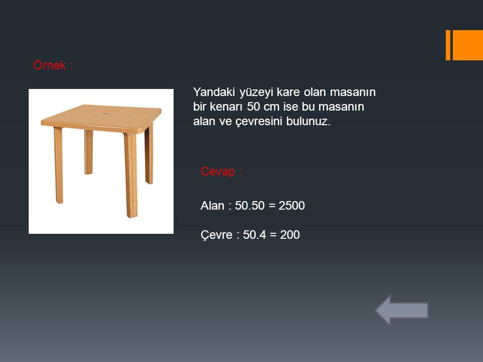 Örnek : Yandaki yüzeyi kare olan masanın bir kenarı 50 cm ise bu masanın alan ve çevresini bulunuz. Cevap : Alan : 50.50 = 2500 Çevre : 50.4 = 200
