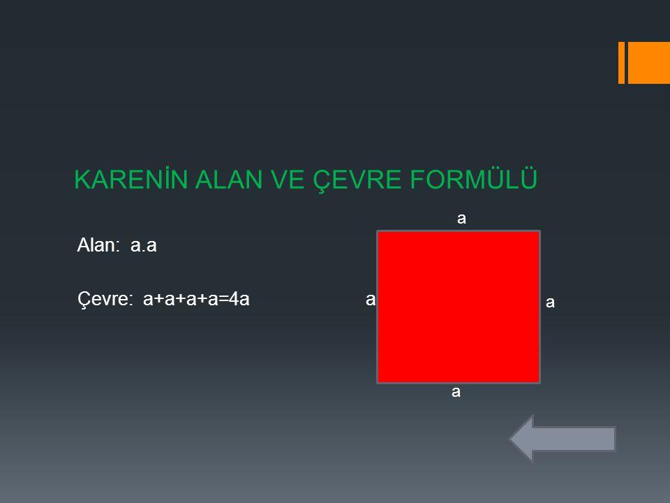 KARENİN ALAN VE ÇEVRE FORMÜLÜ Alan: a.a Çevre: a+a+a+a=4a a a a a