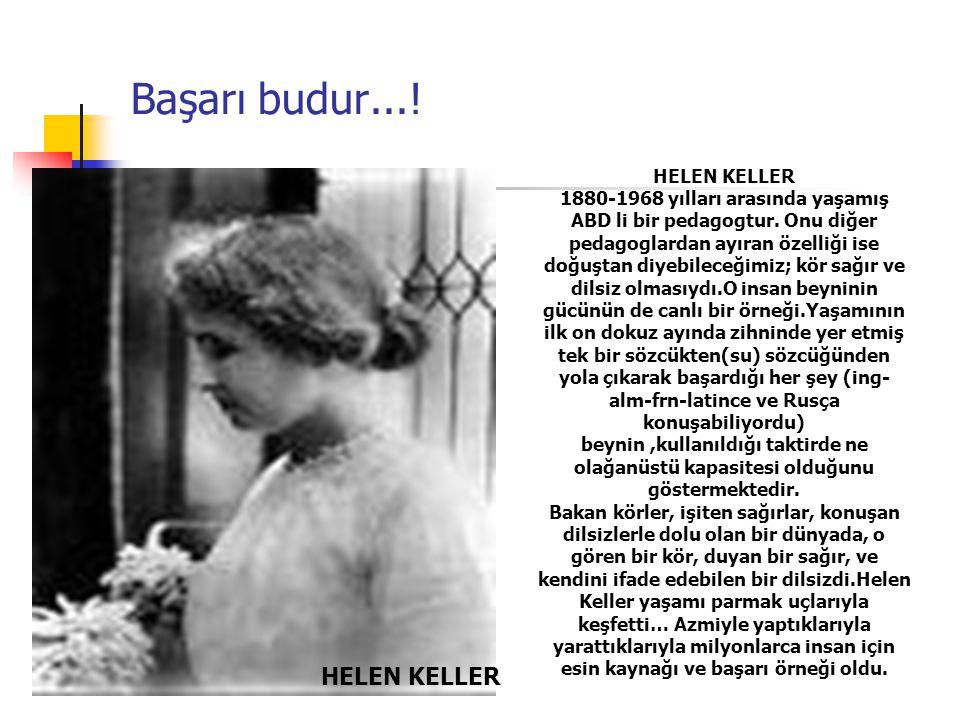 Başarı budur.... HELEN KELLER 1880-1968 yılları arasında yaşamış ABD li bir pedagogtur.