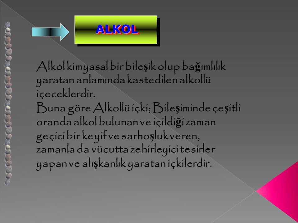 ALKOLALKOL Alkol kimyasal bir bile ş ik olup ba ğ ımlılık yaratan anlamında kastedilen alkollü içeceklerdir.