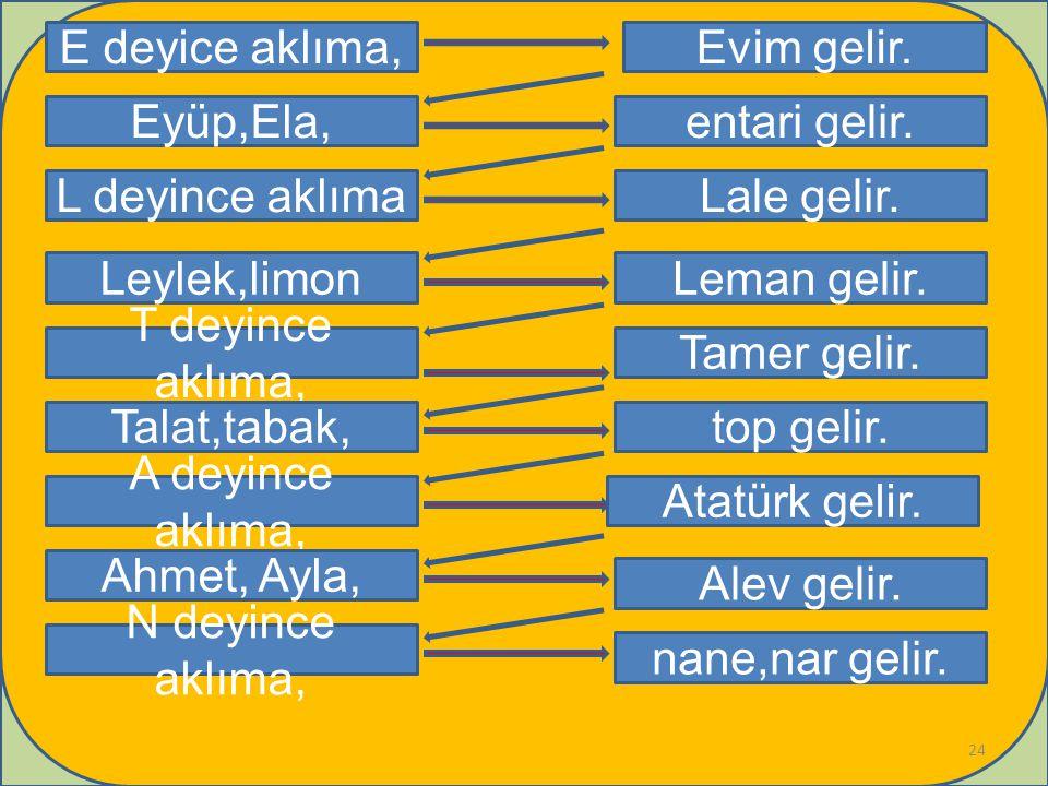 E deyice aklıma, Leylek,limon T deyince aklıma, Talat,tabak, A deyince aklıma, Evim gelir.