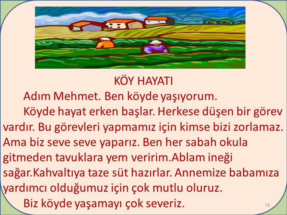 + KÖY HAYATI Adım Mehmet.Ben köyde yaşıyorum. Köyde hayat erken başlar.