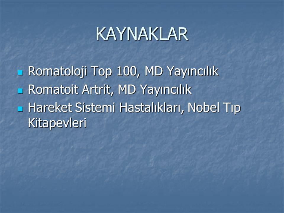 KAYNAKLAR Romatoloji Top 100, MD Yayıncılık Romatoloji Top 100, MD Yayıncılık Romatoit Artrit, MD Yayıncılık Romatoit Artrit, MD Yayıncılık Hareket Si