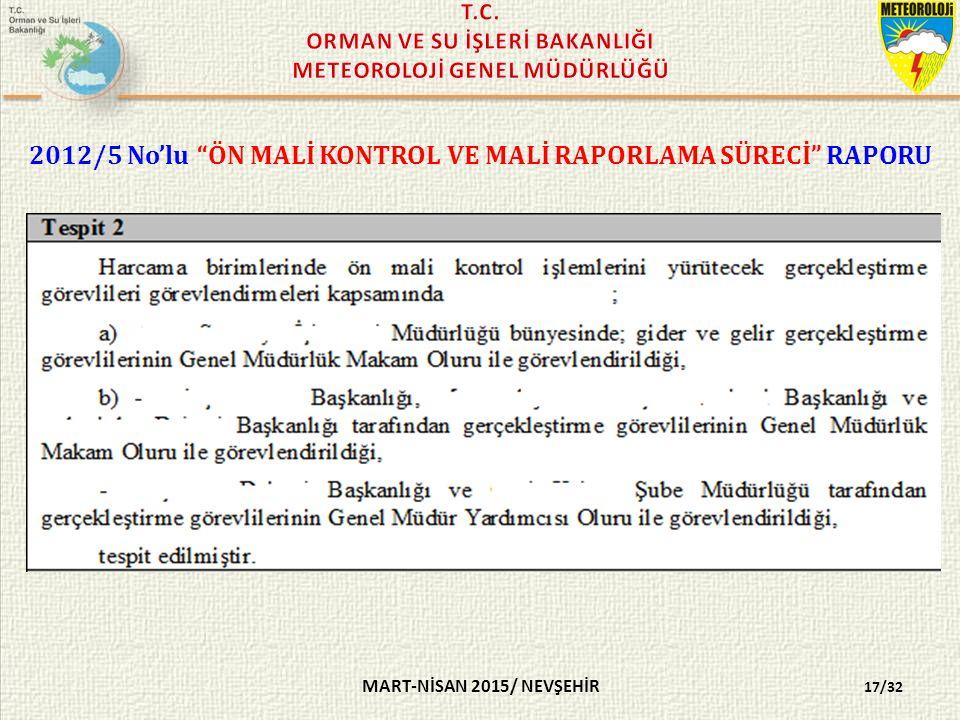 MART-NİSAN 2015/ NEVŞEHİR 2012/5 No'lu ÖN MALİ KONTROL VE MALİ RAPORLAMA SÜRECİ RAPORU 17/32
