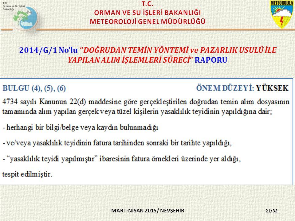 MART-NİSAN 2015/ NEVŞEHİR 2014/G/1 No'lu DOĞRUDAN TEMİN YÖNTEMİ ve PAZARLIK USULÜ İLE YAPILAN ALIM İŞLEMLERİ SÜRECİ RAPORU 21/32