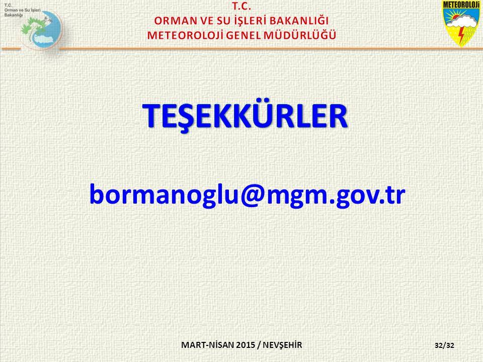 MART-NİSAN 2015 / NEVŞEHİR 32/32 bormanoglu@mgm.gov.tr