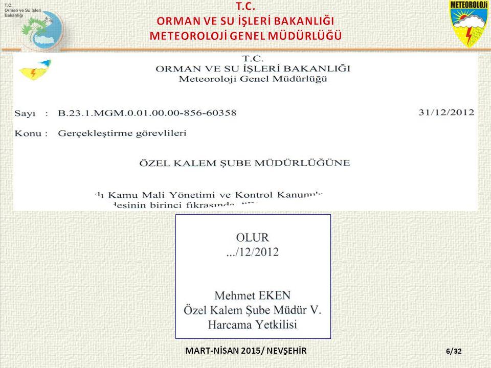 MART-NİSAN 2015/ NEVŞEHİR MERKEZ DIŞI BİRİMLERDE; BÖLGE MÜDÜRÜ VEYA METEOROLOJİ MÜDÜRÜ 7/32
