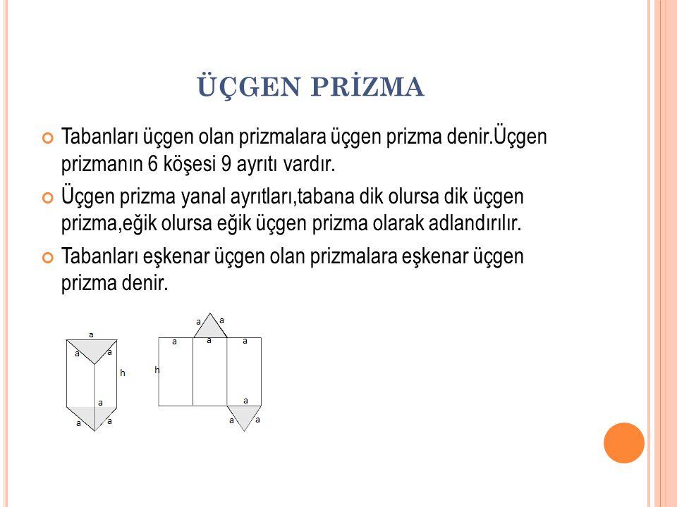ÜÇGEN PRİZMA Tabanları üçgen olan prizmalara üçgen prizma denir.Üçgen prizmanın 6 köşesi 9 ayrıtı vardır. Üçgen prizma yanal ayrıtları,tabana dik olur