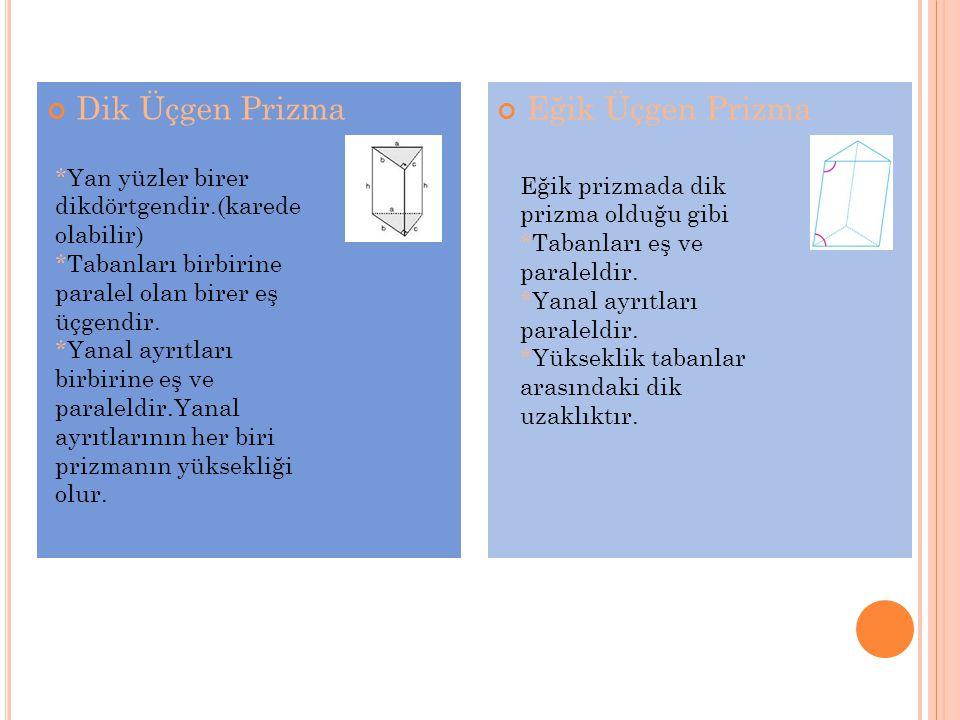 Üçgen Prizmanın Hacmi Dik üçgen prizmanın hacmi taban alanı ile yüksekliği çarpılarak bulunur.