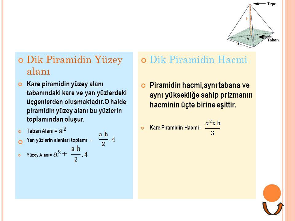Dik Piramidin Yüzey alanı Kare piramidin yüzey alanı tabanındaki kare ve yan yüzlerdeki üçgenlerden oluşmaktadır.O halde piramidin yüzey alanı bu yüzl