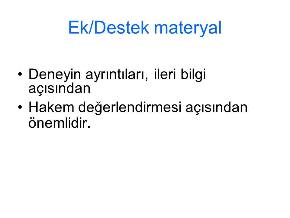 Ek/Destek materyal Deneyin ayrıntıları, ileri bilgi açısından Hakem değerlendirmesi açısından önemlidir.