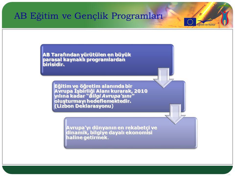 PROGRAMIN SAFHALARI Comenius Erasmus Leonardo da Vinci Hayat boyu Öğrenme Programı GençlikProgramı Grundvig