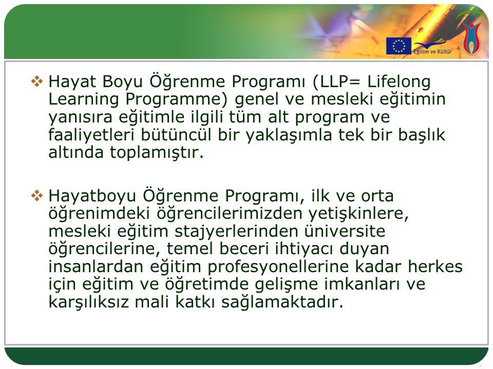  Hayat Boyu Öğrenme Programı (LLP= Lifelong Learning Programme) genel ve mesleki eğitimin yanısıra eğitimle ilgili tüm alt program ve faaliyetleri bü
