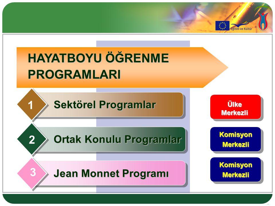 4 HAYATBOYU ÖĞRENME PROGRAMLARI Ülke Merkezli KomisyonMerkezli KomisyonMerkezli Sektörel Programlar 1 4 Jean Monnet Programı 3 2 Ortak Konulu Programlar