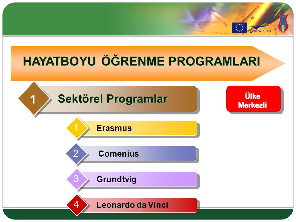 HAYATBOYU ÖĞRENME PROGRAMLARI Sektörel Programlar 1 1 Erasmus 4 Leonardo da Vinci 3 Grundtvig 2 Comenius Ülke Merkezli