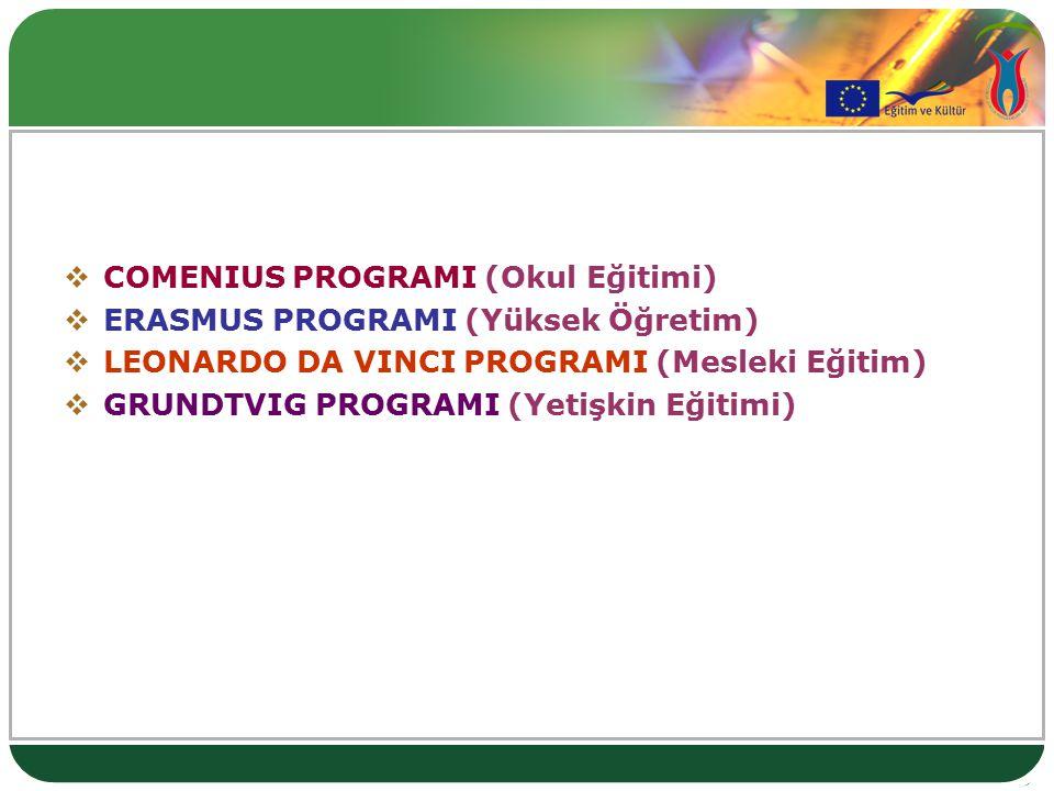  COMENIUS PROGRAMI (Okul Eğitimi)  ERASMUS PROGRAMI (Yüksek Öğretim)  LEONARDO DA VINCI PROGRAMI (Mesleki Eğitim)  GRUNDTVIG PROGRAMI (Yetişkin Eğitimi)