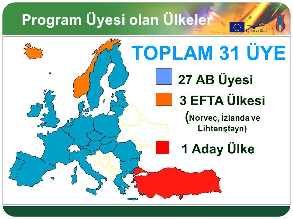 Program Üyesi olan Ülkeler 27 AB Üyesi 3 EFTA Ülkesi ( Norveç, İzlanda ve Lihtenştayn) 1 Aday Ülke TOPLAM 31 ÜYE
