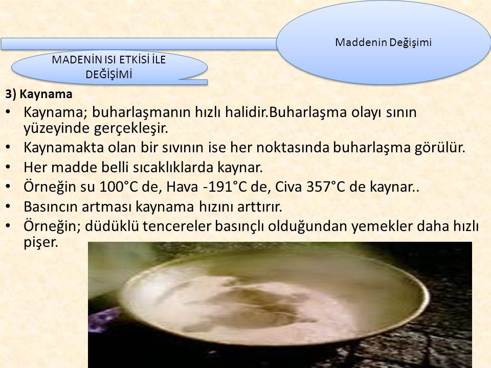 3) Kaynama Kaynama; buharlaşmanın hızlı halidir.Buharlaşma olayı sının yüzeyinde gerçekleşir.