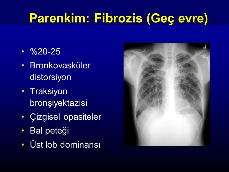 Parenkim: Fibrozis (Geç evre) %20-25 Bronkovasküler distorsiyon Traksiyon bronşiyektazisi Çizgisel opasiteler Bal peteği Üst lob dominansı