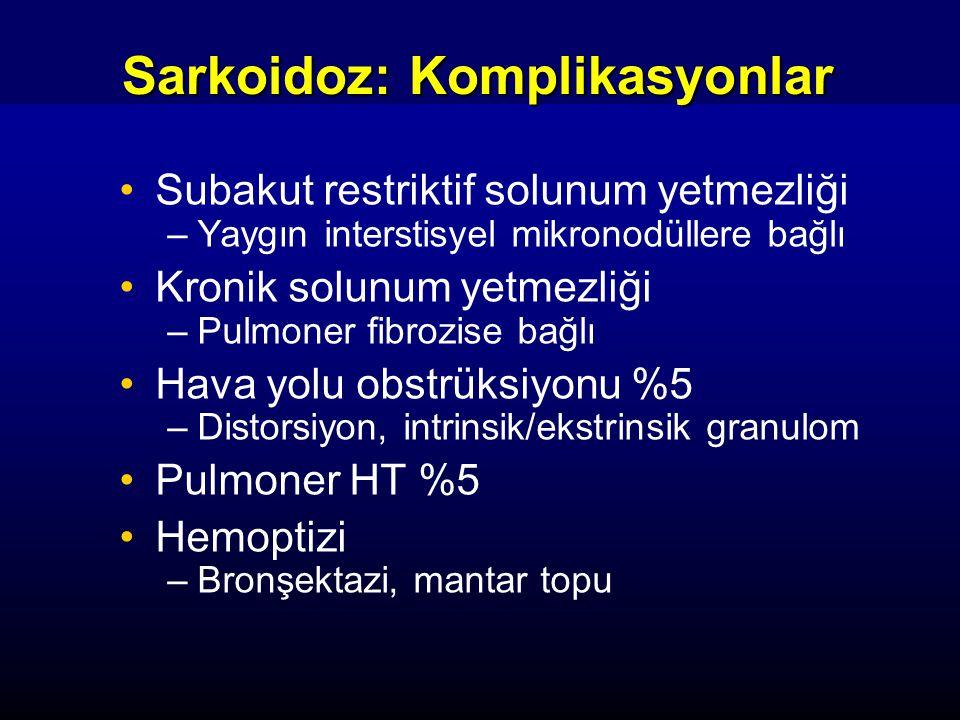 Sarkoidoz: Komplikasyonlar Subakut restriktif solunum yetmezliği –Yaygın interstisyel mikronodüllere bağlı Kronik solunum yetmezliği –Pulmoner fibrozi