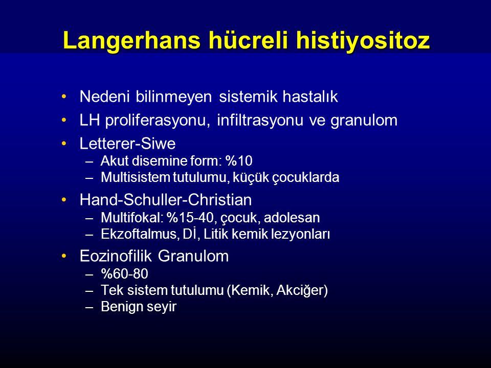 Langerhans hücreli histiyositoz Nedeni bilinmeyen sistemik hastalık LH proliferasyonu, infiltrasyonu ve granulom Letterer-Siwe –Akut disemine form: %1