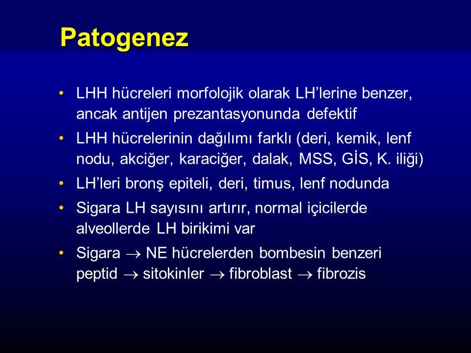 Patogenez LHH hücreleri morfolojik olarak LH'lerine benzer, ancak antijen prezantasyonunda defektif LHH hücrelerinin dağılımı farklı (deri, kemik, len