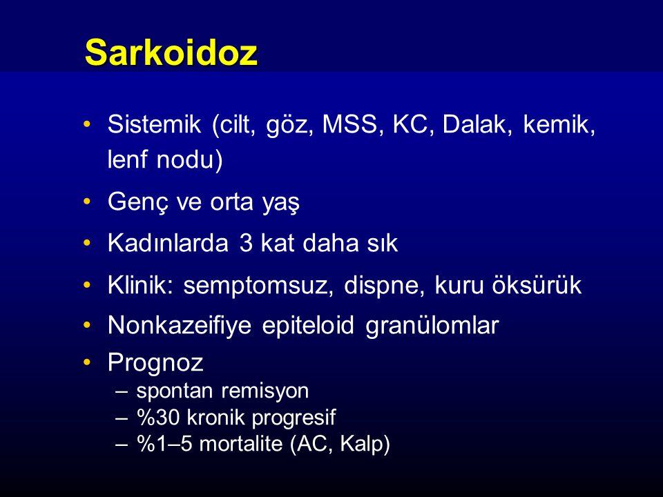 Sarkoidoz: Komplikasyonlar Subakut restriktif solunum yetmezliği –Yaygın interstisyel mikronodüllere bağlı Kronik solunum yetmezliği –Pulmoner fibrozise bağlı Hava yolu obstrüksiyonu %5 –Distorsiyon, intrinsik/ekstrinsik granulom Pulmoner HT %5 Hemoptizi –Bronşektazi, mantar topu
