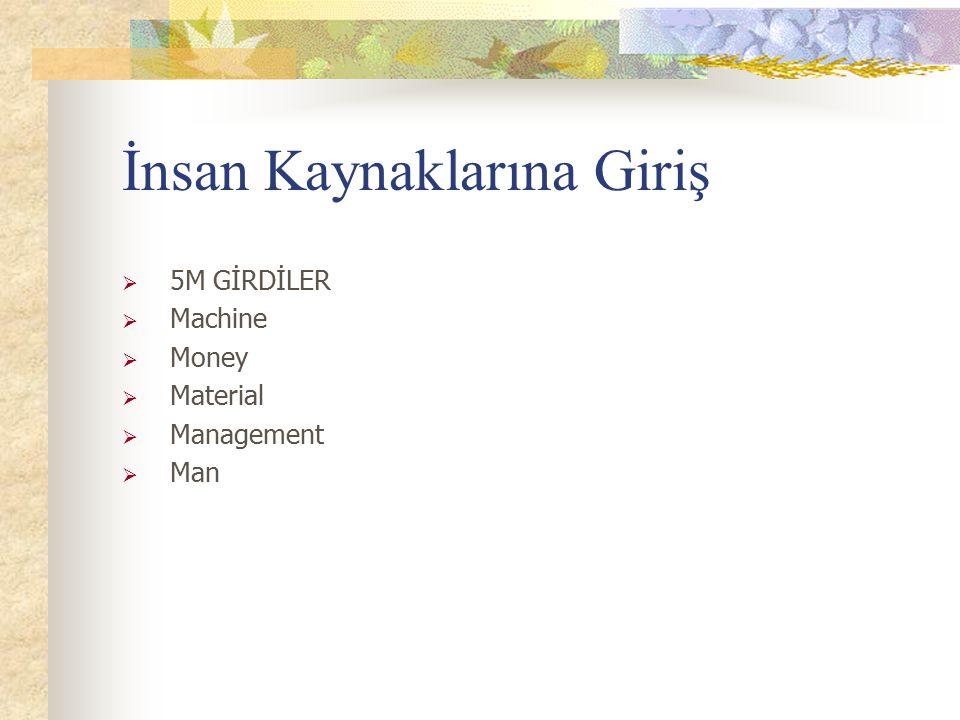 İnsan Kaynaklarına Giriş  5M GİRDİLER  Machine  Money  Material  Management  Man