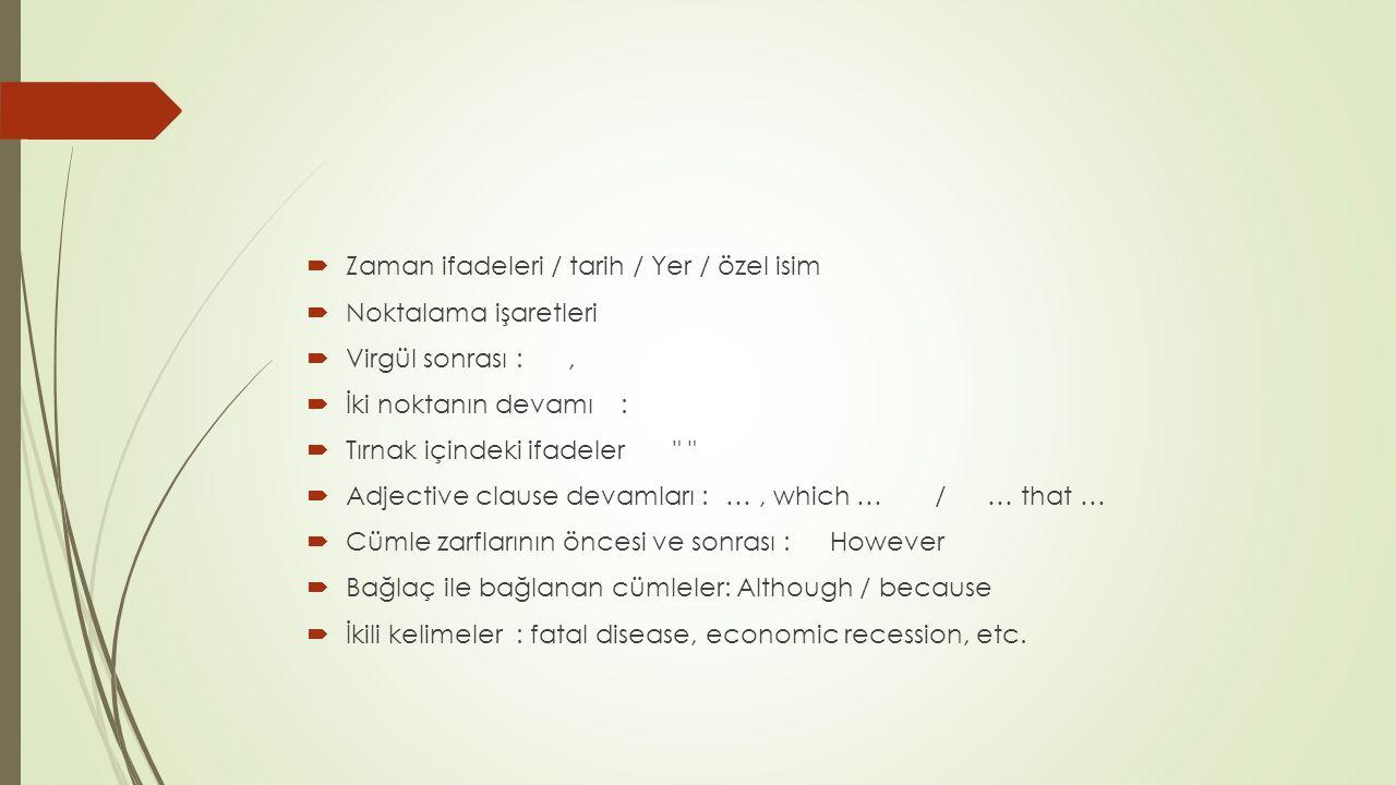  Zaman ifadeleri / tarih / Yer / özel isim  Noktalama işaretleri  Virgül sonrası:,  İki noktanın devamı :  Tırnak içindeki ifadeler