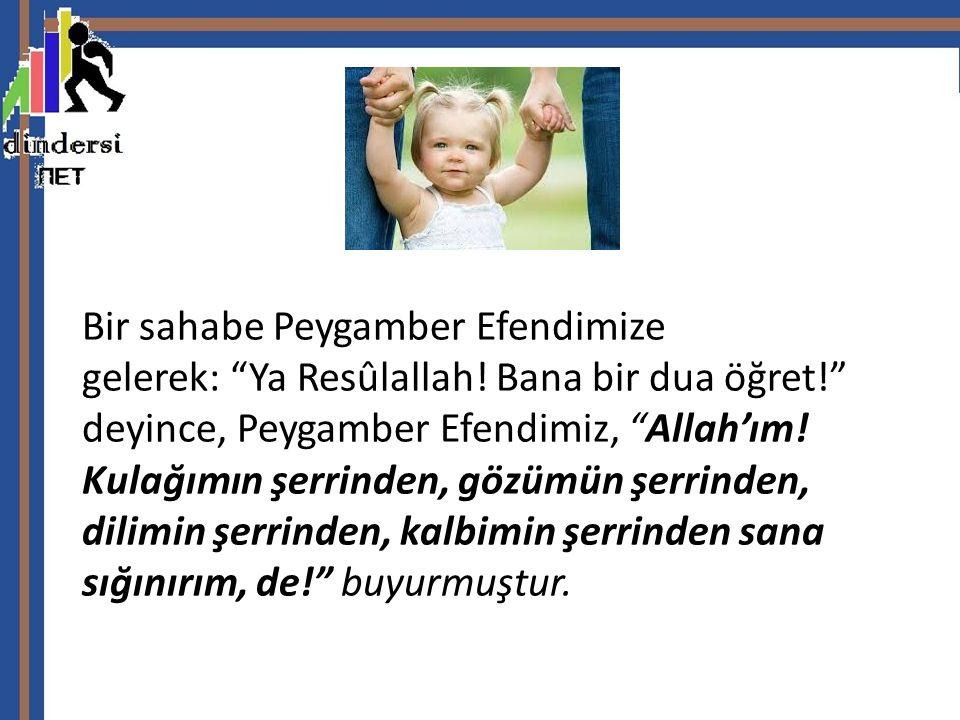 """Bir sahabe Peygamber Efendimize gelerek: """"Ya Resûlallah! Bana bir dua öğret!"""" deyince, Peygamber Efendimiz, """"Allah'ım! Kulağımın şerrinden, gözümün şe"""