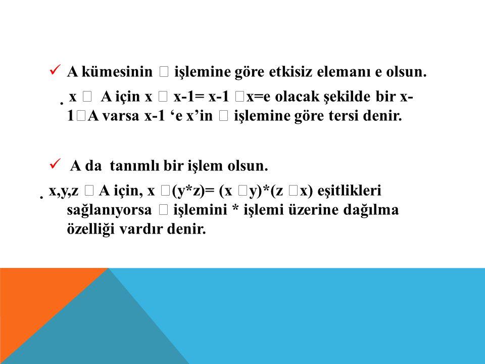 İŞLEMİN ÖZELLİKLERİ : A boş olmayan bir küme ve , A' da tanımlı bir işlem olsun;  x, y  A için x  y  A ise A kümesi  işlemine göre kapalıdır.kap