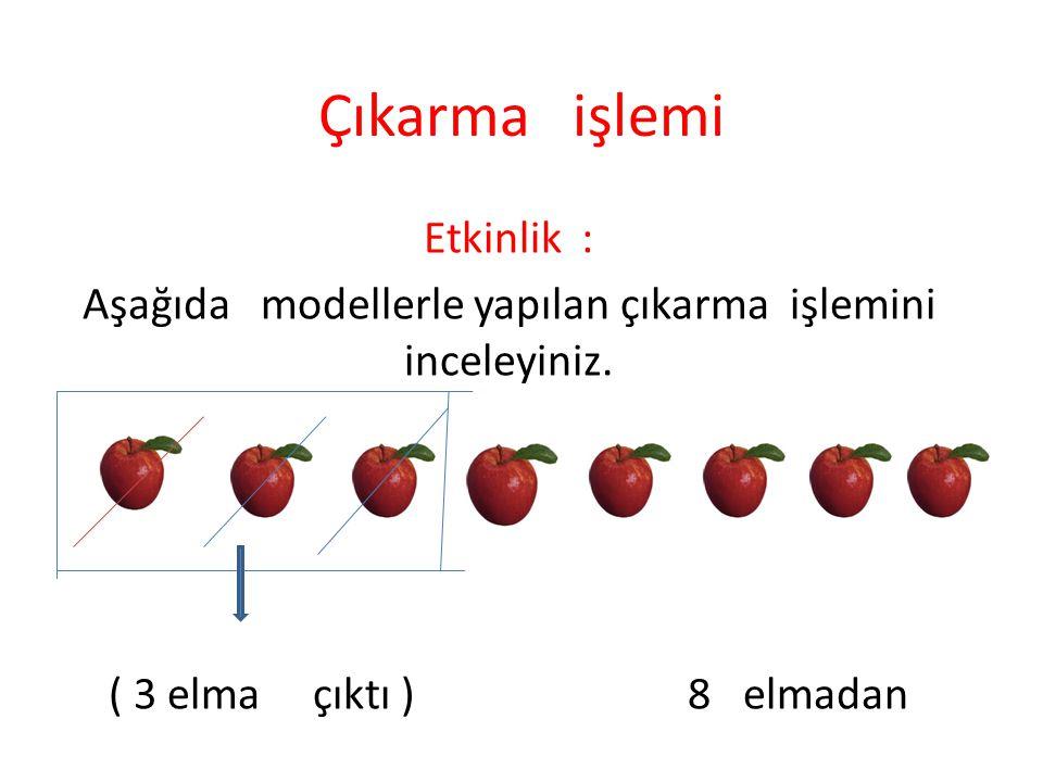 Çıkarma işlemi Etkinlik : Aşağıda modellerle yapılan çıkarma işlemini inceleyiniz. ( 3 elma çıktı ) 8 elmadan