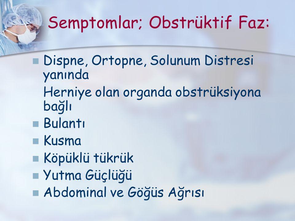 Semptomlar; Obstrüktif Faz: Dispne, Ortopne, Solunum Distresi yanında Herniye olan organda obstrüksiyona bağlı Bulantı Kusma Köpüklü tükrük Yutma Güçl