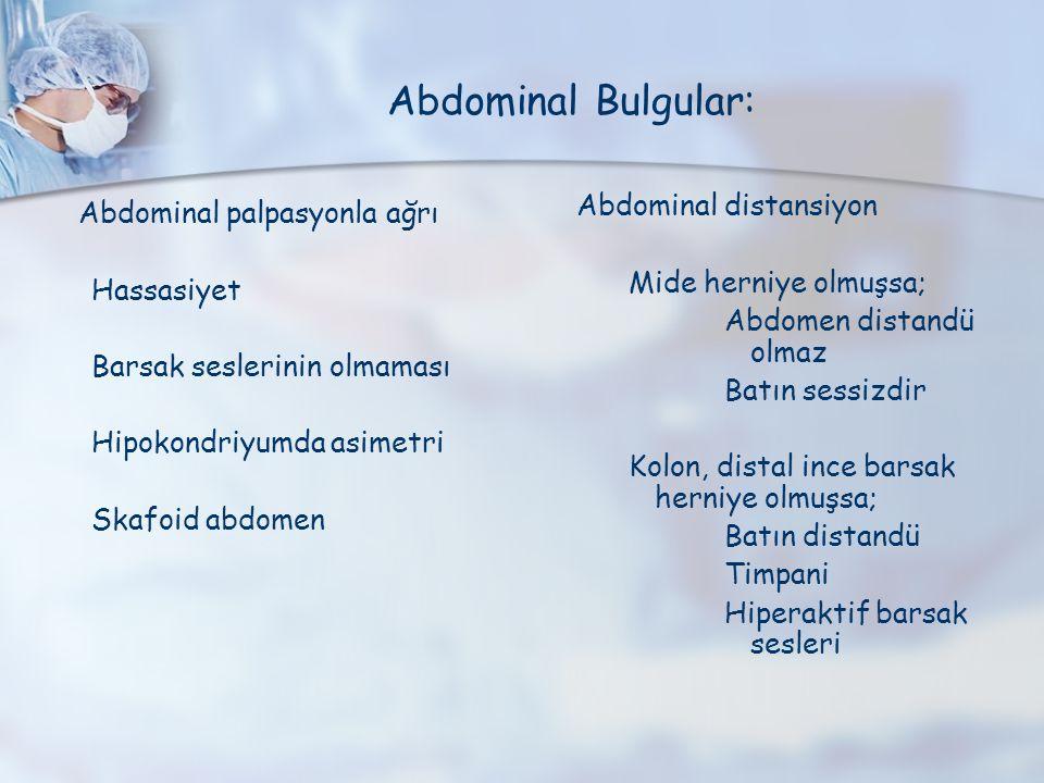 Abdominal palpasyonla ağrı Hassasiyet Barsak seslerinin olmaması Hipokondriyumda asimetri Skafoid abdomen Abdominal distansiyon Mide herniye olmuşsa;