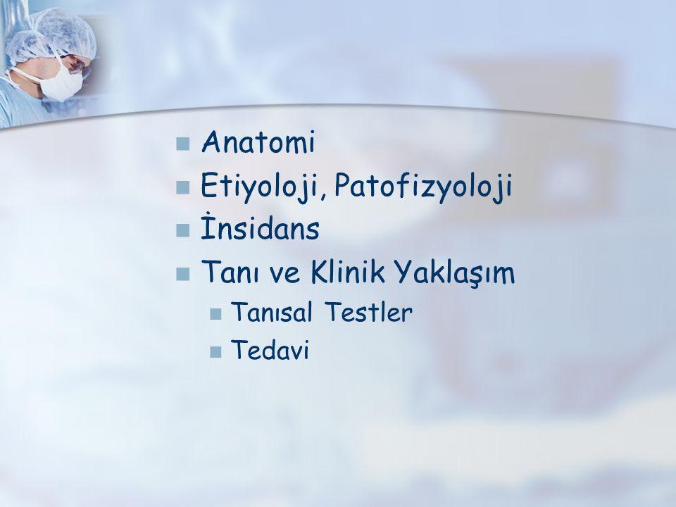 Anatomi Etiyoloji, Patofizyoloji İnsidans Tanı ve Klinik Yaklaşım Tanısal Testler Tedavi