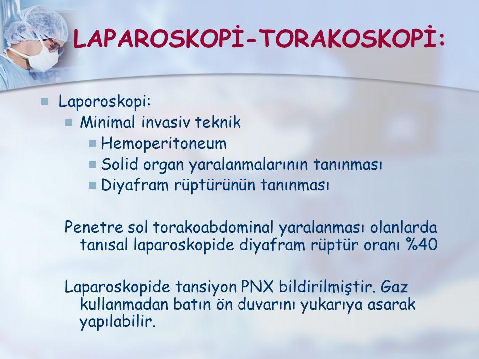 LAPAROSKOPİ-TORAKOSKOPİ: Laporoskopi: Minimal invasiv teknik Hemoperitoneum Solid organ yaralanmalarının tanınması Diyafram rüptürünün tanınması Penet
