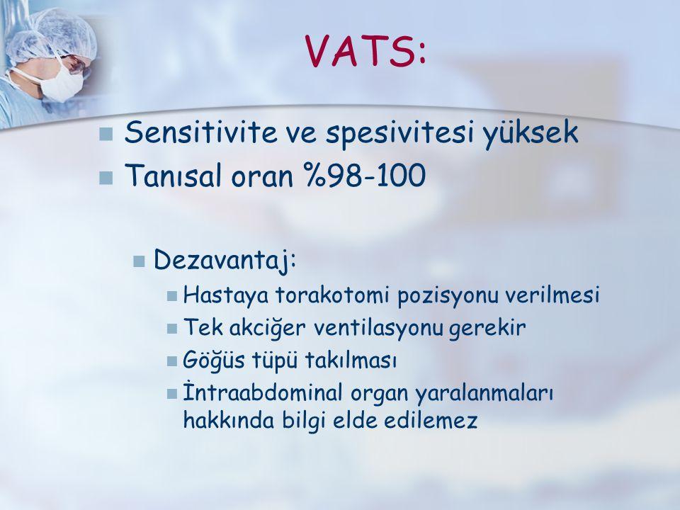 VATS: Sensitivite ve spesivitesi yüksek Tanısal oran %98-100 Dezavantaj: Hastaya torakotomi pozisyonu verilmesi Tek akciğer ventilasyonu gerekir Göğüs