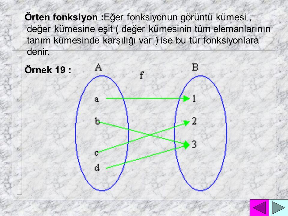 Fonksiyon Türleri : İçine fonksiyon : Eğer fonksiyonun görüntü kümesi, değer kümesinin alt kümesi ( değer kümesinin bazı elemanlarının tanım kümesinde karşılığı yok ) ise bu tür fonksiyonlara denir.
