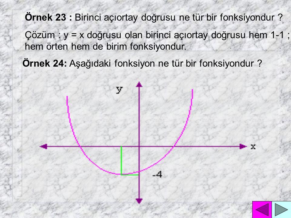 Eğer fonksiyonun tanım kümesindeki her elemanın görüntü kümesindeki karşılığı yine kendisi oluyorsa bu tür fonksiyonlara denir.