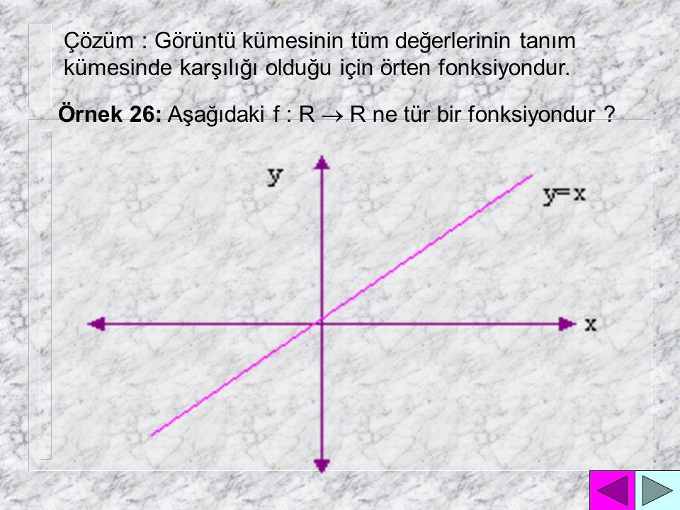Çözüm : Görüntü kümesinin (- ,-4) arasındaki değerlerinin tanım kümesinde karşılığı olmadığı için içine fonksiyondur.